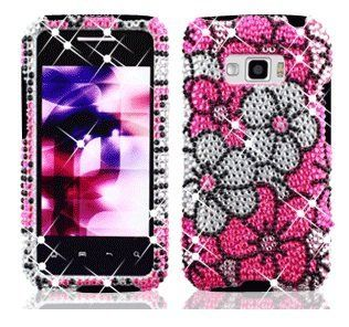 LG Optimus Elite LS696 LS 696 Cell Phone Full Crystals Diamonds Bling Protective Case Cover Silver and Pink Floral Flowers Design Cell Phones & Accessories