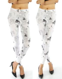 Fashion Chic pant Antique map print leggings White L/XL PCS744 at  Women�s Clothing store: