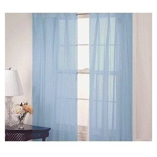 "2 Piece Solid Light Blue Sheer Curtains Fully Stitched Panels Window Drape 54"" X 84""   Window Treatment Sheers"