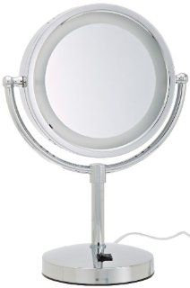 Jerdon HL745CO 8.5 Inch Tabletop Two Sided Swivel Halo Lighted Vanity Mirror with 5x Magnification and Built In Electrical Outlet, 15 Inch Height, Chrome Finish  Personal Makeup Mirrors  Beauty