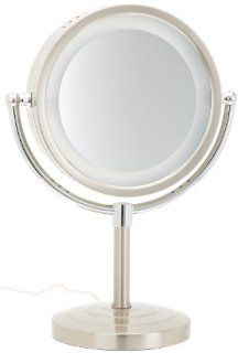 Jerdon HL745NC 8.5 Inch Tabletop Two Sided Swivel Halo Lighted Vanity Mirror with 5x Magnification, 15.5 Inch Height, Matte Nickel and Chrome Finish  Personal Makeup Mirrors  Beauty