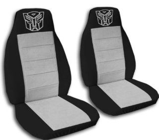 2 Black and Silver Robot seat covers for a 2009 to 2011 Toyota Corolla. Side airbag friendly.: Automotive