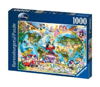 Disney World Map 1000 Piece Jigsaw Puzzle Featuring the entire Disney Family Disney Princess, Donald Duck, Mickey Mouse, Peter Pan and many more Toys & Games