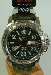 Seiko 5 Sports Automatic 24 Jewels, Military Style, Orange Highlights, Green Canvas Strap, Gents Watch (Made In Japan)   SRP215J2 Watches