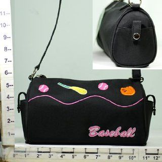"Purse/Mini Shoulder Bag ~ Black ~ Embroidered ""Baseball"" Theme: Everything Else"