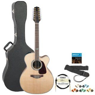 Takamine GJ72CE 12NAT Jumbo Cutaway 12 String Acoustic Electric Guitar w/ Strap, Cable, Strings, Pick Sampler & Hard Case Musical Instruments