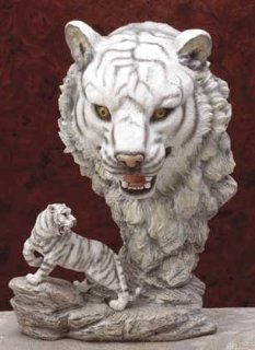 Fierce White Tiger Display ~ White Tiger with Big Head View Statue