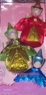Disney Sleeping Beauty Exclusive Fairy Godmother 3Pack Set Flora, Fauna Merryweather Toys & Games