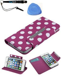 IMAGITOUCH(TM) 3 Item Combo APPLE iPhone 5 5S White Polka Dots Hot Pink Frosted Book Style MyJacket Wallet (with card slot) (758) (Stylus pen, Pry Tool, Phone Cover) Cell Phones & Accessories