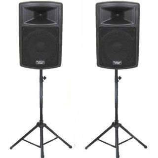 """Podium Pro 1 Pair New Karaoke PA Band 10"""" Pro Audio Powered Active Speakers and Stands DJ Set PP1003ASET1 Musical Instruments"""