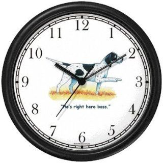 English Pointer Dog Cartoon or Comic   JP Animal Wall Clock by WatchBuddy Timepieces (Slate Blue Frame)