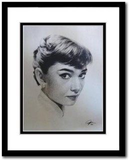 "Audrey Hepburn Sketch Portrait, Charcoal Graphite Pencil Drawing Poster   11"" x 14"" Framed Print (WU075)"