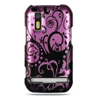 VMG Purple Black Floral Flower Design Hard 2 Pc Plastic Snap On Case Cover fo: Cell Phones & Accessories