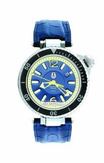 Gio Monaco Men's 787 A Poseidon Abissi Automatic Blue Luminous Alligator Leather Watch: Watches