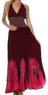 Sakkas 793ANP Batik Adjustable Halter Long Maxi Dress   Chocolate / Pink   One Size at  Women�s Clothing store