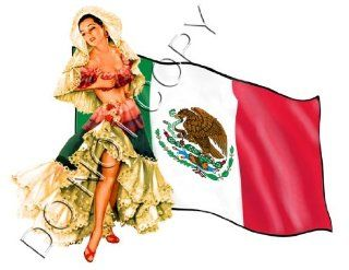 Sexy Mexican Flag Senorita Pinup Decal s124 Musical Instruments