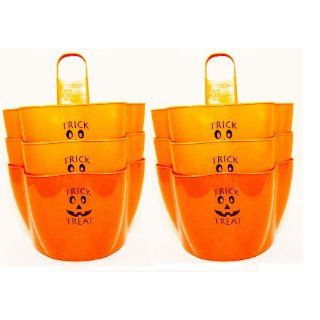 Bucket Buddy 10155 ORG PUMPKIN BLK 6 Orange Glow in the Dark Candy Bucket with Black Jack O'Lantern Face (Pack of 6) Industrial & Scientific