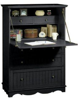 French Country Deluxe Secretary Desk, FIVE DRAWER, BLACK   Home Office Desks