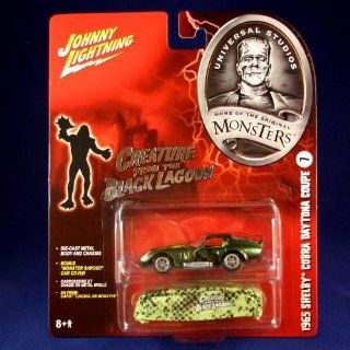 """1965 SHELBY COBRA DAYTONA COUPE #7 * THE CREATURE FROM THE BLACK LAGOON * Johnny Lightning 2005 UNIVERSAL STUDIOS MONSTERS 164 Scale SERIES 2 Die Cast Vehicle & """"Monster Shroud"""" Car Cover Toys & Games"""