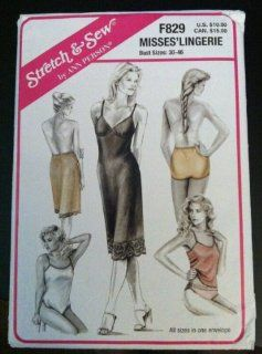 "UNCUT & OOP STRETCH & SEW by ANN PEARSON F829 MISSES' LINGERIE SEWING PATTERN   FULL SLIP, HALF SLIP, CAMISOLE, TEDDY, 5 DIFFERENT STLYES / TYPES OF PANTIES   BUST SIZES: 30""   46"""