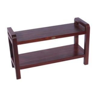 Decoteak 35 in. Extended Length Teak Spa Shower Bench with Shelf and Lift Aide Arms   Shower Seats