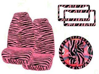 7 Piece Animal Print Automotive Interior Gift Set   2 Universal Fit Zebra Pink and Black Front Bucket Seat Covers, 2 Zebra Pink and Black Plastic License Plate Frame, 1 Zebra Pink and Black Steering Wheel Cover and 2 Zebra Pink and Black Shoulder Belt Pads
