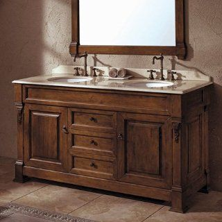 oak vanity w/ brown top 60'' double  bates collection  thos. baker   Furniture