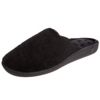 Isotoner Women's  Microterry PillowStep Satin Cuff Clog Slippers , Black,6 1/2   7: Clothing