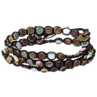 Multi Tone Batu Dots with Black Cord Wrap Bracelet: Jewelry
