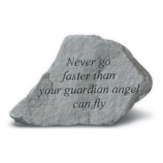Never Go Faster Than Your Guardian Angel Garden Accent Stone   Garden & Memorial Stones