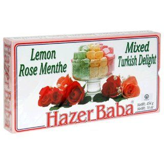 Hazer Baba Mixed Turkish Delight, Lemon Rose Menthe, 16 Ounce Boxes (Pack of 4) : Grocery & Gourmet Food