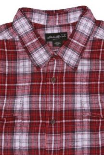 Eddie Bauer Men's Long Sleeve Button Down Flannel Shirt (2XL, Red/White) at  Men�s Clothing store