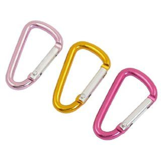 3 Pcs Aluminum Alloy Spring Load Gate Red Yellow Pink D Shape Carabiner  Sports Related Key Chains  Sports & Outdoors
