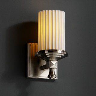 Limoges Deco 5 inch Nickel & Porcelain 1 Light Cylinder Pleats Bathroom Light   Lighting Products