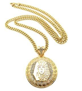 "New Iced Out PHARAOH KING TUT Pendant 6mm&36"" Link Chain Hip Hop Necklace XP899CG: Jewelry"
