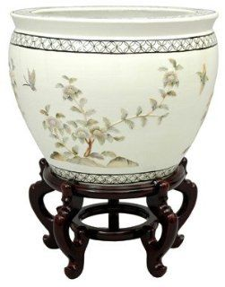 Oriental Furniture Japanese Chinese Asian Ceramics, 16 Inch Ming Lacquer Porcelain Fishbowl Planter Flower Pot, White with Birds and Flowers   Decorative Bowls