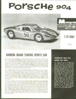 Porsche 904 Monogram Model Kit Instructions 1964: Entertainment Collectibles