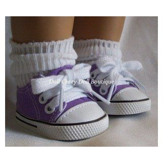 New Purple Canvas Tennis Doll Shoes fit American Girl Dolls Toys & Games