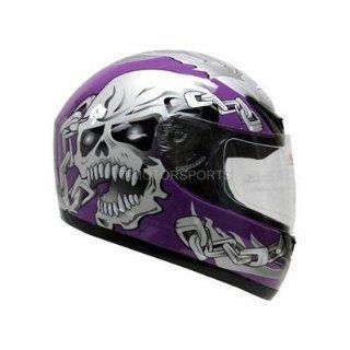 PURPLE SKULL CHAIN FULL FACE MOTORCYCLE HELMET STREET(&HY 901 Purple/Silver SkullChain) (Small) Automotive