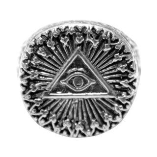 925 Sterling Silver Illuminati All Seeing Eye Pyramid Ring: Jewelry