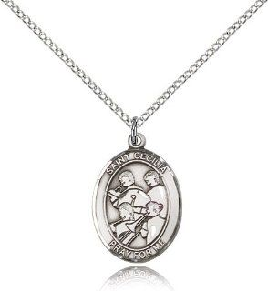 .925 Sterling Silver Saint St. Cecilia / Marching Band Pendan 3/4 x 1/2 Inches Musicians/Singers 8179  Comes with a .925 Sterling Silver Lite Curb Chain Neckace And a Black velvet Box: Jewelry
