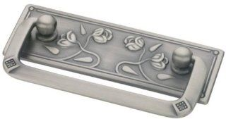 Bail Pull Antique Nickel Vintage Floral 64mm (904) L P10111 AN C   Cabinet And Furniture Pulls