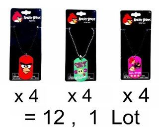 Angry Birds Exclusive Wholesale Lot of 12 Dog Tags Necklace Accessories / 4 Red Bird, 4 Green Pig & 4 Pink All star : Other Products : Everything Else