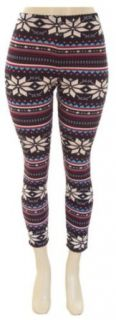 Juniors Fair Isle Nordic Tribal Pattern Print Leggings (Regular & Plus Sizes): Clothing