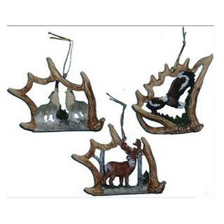 3pc Antler Ornament Set  Eagle, Wolf & Deer   Decorative Hanging Ornaments