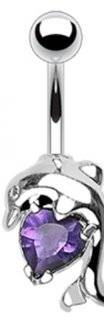 """14g Surgical Steel Dolphin Sexy Belly Button Navel Ring Body Jewelry Piercing with Purple Solitaire Heart Non Dangle 14 Gauge 3/8"""" Nemesis Body JewelryTM"""