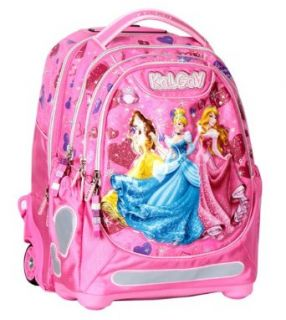 Disney 3 Princess Trolley Orthopedic School Bag Rolling Backpack Girls Pink BNWT: Clothing