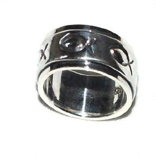 925 Sterling Silver 8mm Icthus Fish Spinner Ring: Jewelry