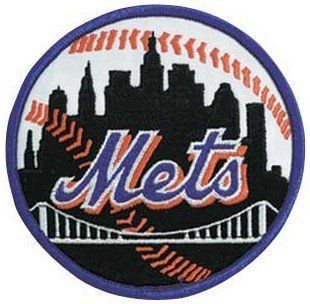 New York Mets MLB Baseball Team Logo Patch (Black with Blue Border) Sports & Outdoors
