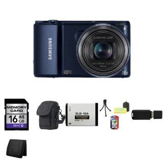 Samsung WB250F/WB200F Smart Digital Camera 14.2 MP 18x Optical Zoom Wi Fi, Cobalt Black + 16GB SDHC Class 10 Memory Card + Carrying Case + Extra SL B10A Battery + Mini Tripod Kit + USB SDHC Reader + Memory Wallet  Point And Shoot Digital Camera Bundles